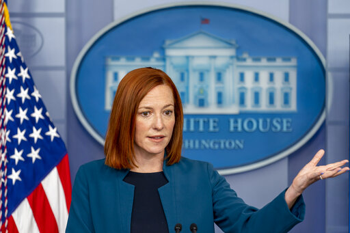 White House press secretary Jen Psaki speaks at a press briefing at the White House, Friday, April 2, 2021, in Washington. (AP Photo/Andrew Harnik)
