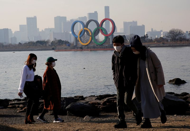 FILE PHOTO: Giant Olympic rings at a park ,amid the coronavirus disease (COVID-19) outbreak