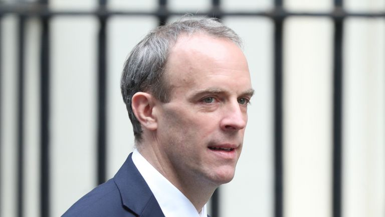 Foreign Secretary Dominic Raab arrives in Downing Street, London in the final week of a four week national lockdown to curb the spread of coronavirus.