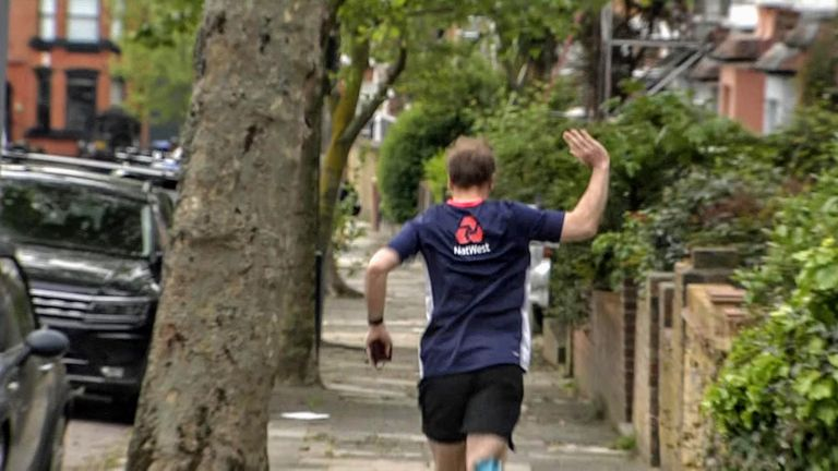 Health Secretary Matt Hancock urged those over 30 to get vaccinated before darting off for a jog in a cricket shirt.