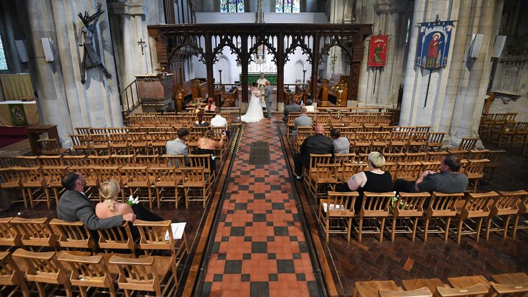 Weddings are once again permitted to take place in England, with ceremonies capped at a maximum of 30 guests