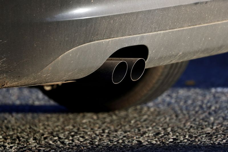 FILE PHOTO: An exhaust pipe is seen as a vehicle sits in traffic near the Blackwall Tunnel in London