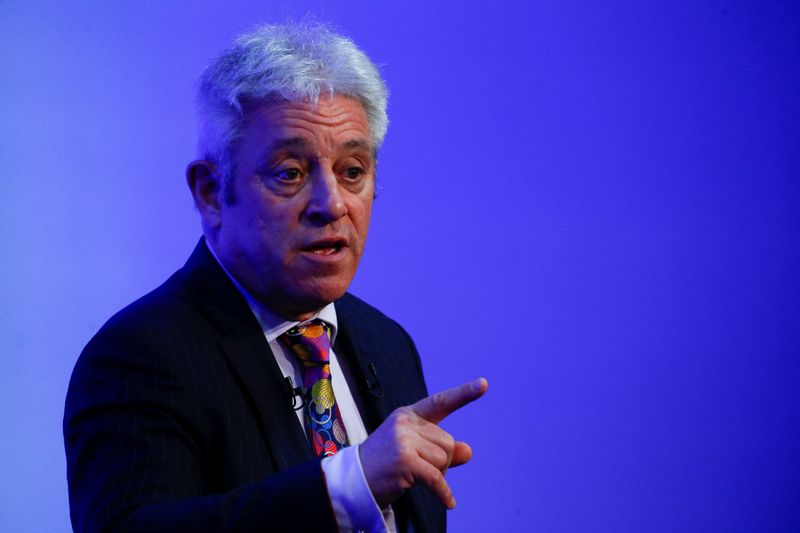 Former Speaker of the UK's House of Commons, John Bercow, speaks during a 'Parliament and Brexit' conference in London