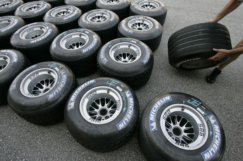 FILE PHOTO: Michelin Formula One tires are shown in the pits at the Indianapolis Motor Speedway