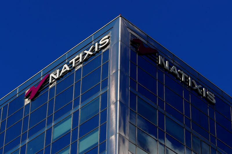 FILE PHOTO: The logo of French bank Natixis is seen on one of their buildings in Paris