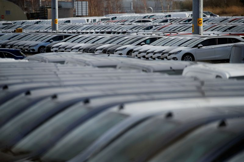 FILE PHOTO: Parked cars are seen at the Vauxhall plant as the outbreak of the coronavirus disease (COVID-19) continues, in Ellesmere Port