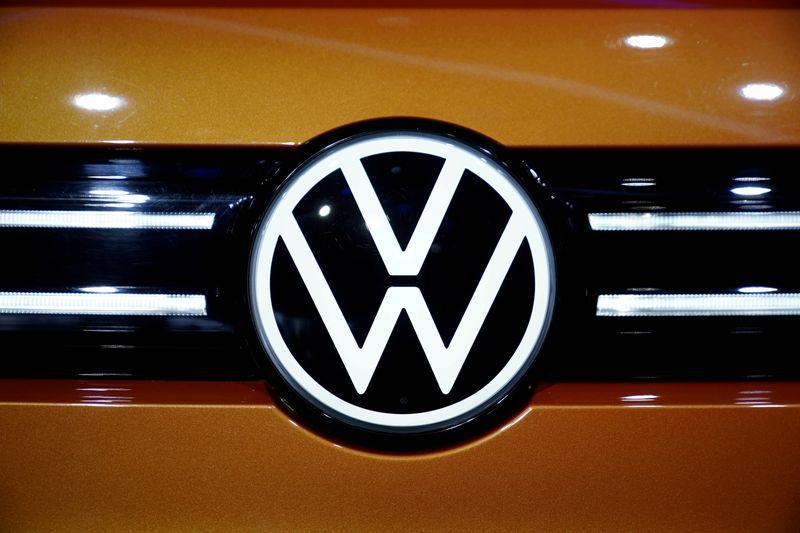 FILE PHOTO: A Volkswagen logo is seen in Shanghai