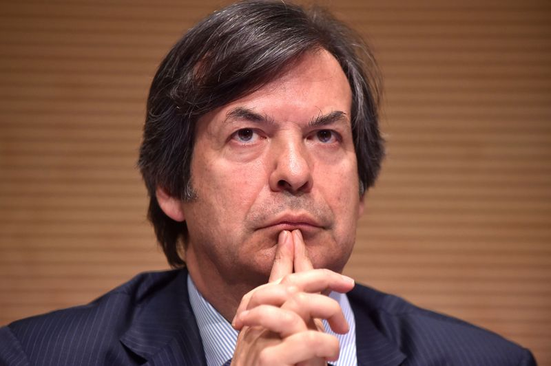 FILE PHOTO: Messina, CEO of Intesa Sanpaolo bank looks on during shareholders meeting in Turin