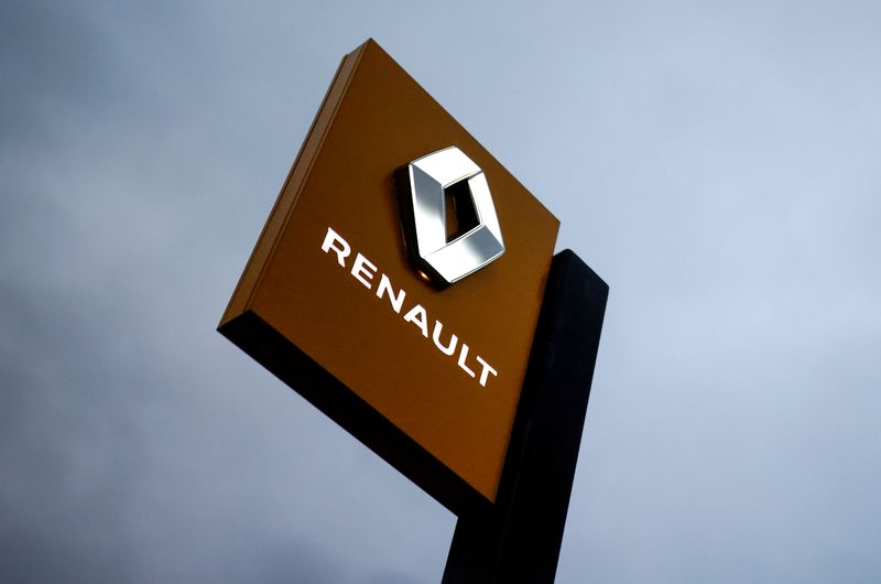 FILE PHOTO: The logo of carmaker Renault is pictured at a dealership in France