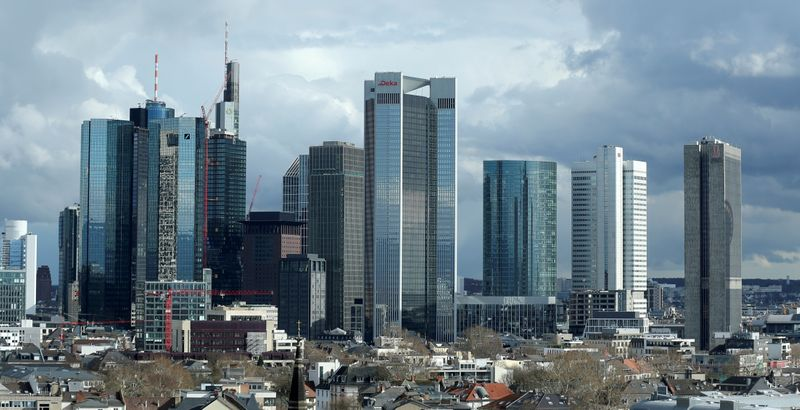 FILE PHOTO: The financial district with Germany's Deutsche Bank and Commerzbank is pictured in Frankfurt