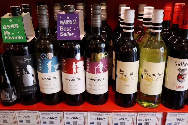 Bottles of Australian wine are seen at a store selling imported wine in Beijing
