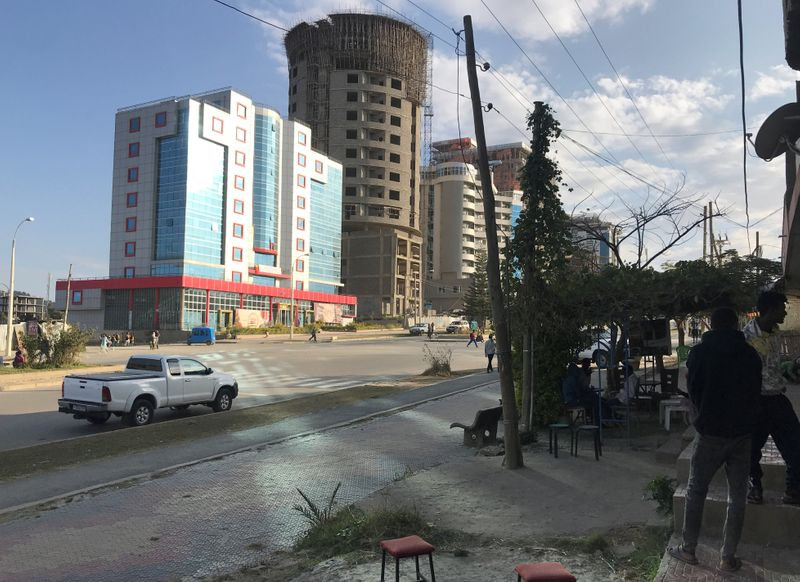 A view shows a street in Mekelle