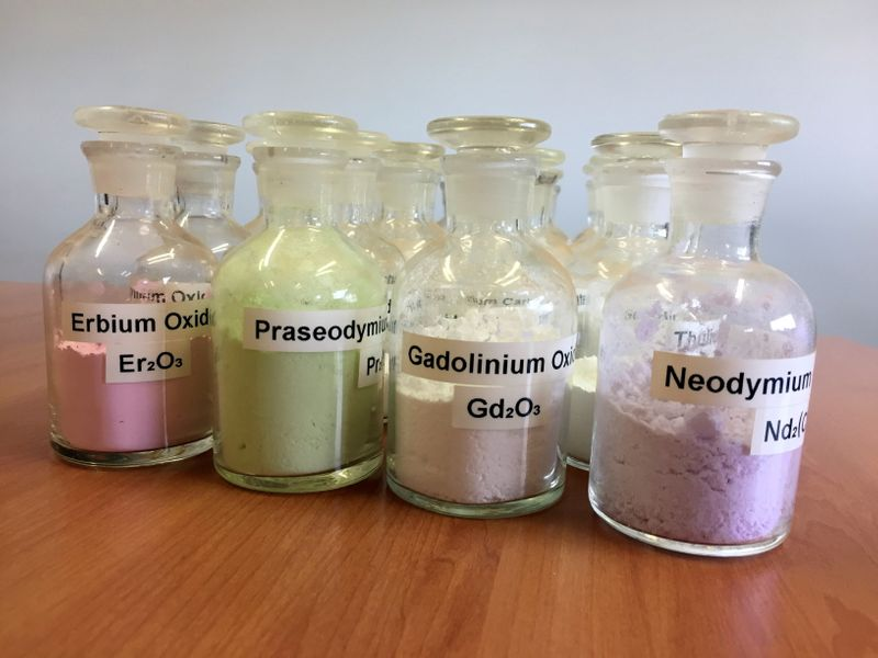 FILE PHOTO: Jars containing rare earth minerals produced by Australia's Lynas Corp from its Mount Weld operations are seen near Laverton, Australia