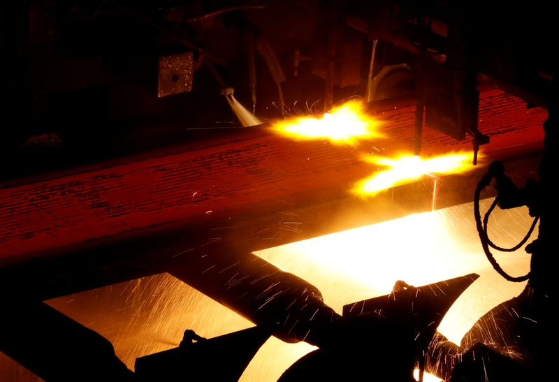 FILE PHOTO: A production line of Nippon Steel & Sumitomo Metal Corp.'s Kimitsu steel plant is pictured in Kimitsu
