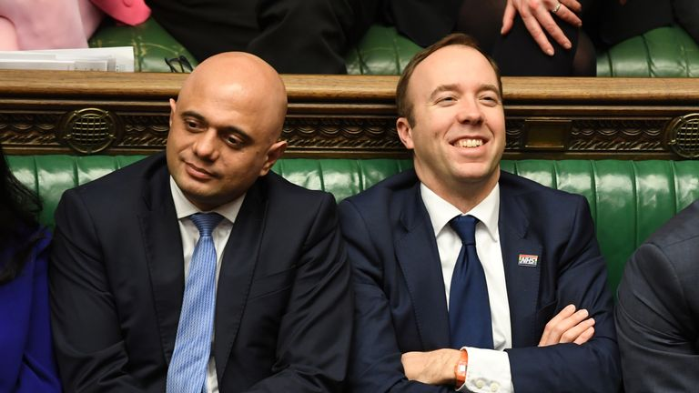 Britain's Home Secretary Priti Patel and Chancellor of the Exchequer Sajid Javid and Health and Social Care Secretary Matt Hancock attend a Prime Minister's Questions session in Parliament in London, Britain January 29, 2020. ©UK Parliament/Jessica Taylor/Handout via REUTERS THIS IMAGE HAS BEEN SUPPLIED BY A THIRD PARTY.#