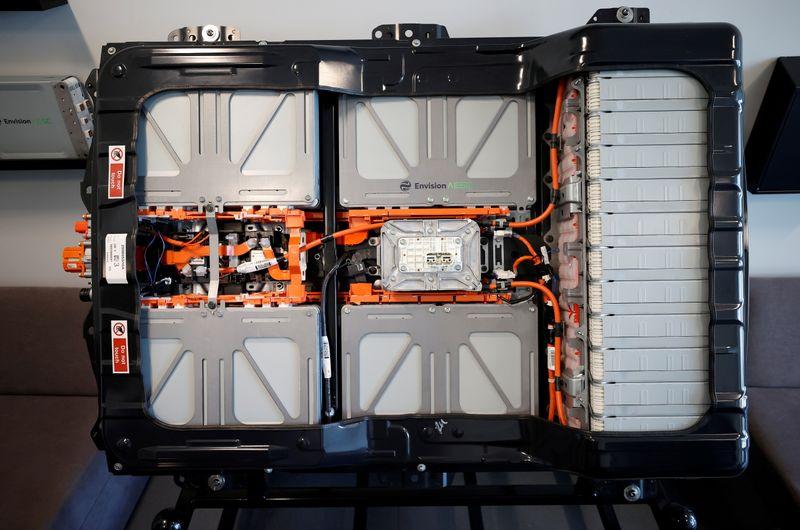 FILE PHOTO: Nissan Leaf battery sent at Sunderland factory