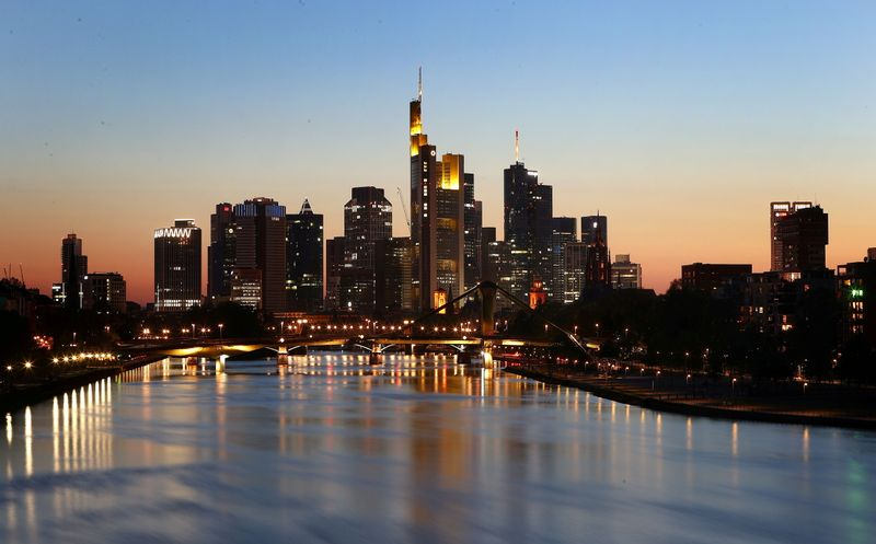 The skyline with the financial district is photographed during sunset in Frankfurt