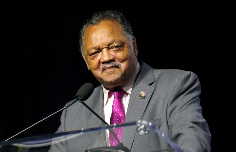 Civil rights activist Reverend Jesse Jackson addresses the audience during the Presidential candidate forum at the annual convention of the National Associationfor theAdvancementofColored People(NAACP), in Detroit