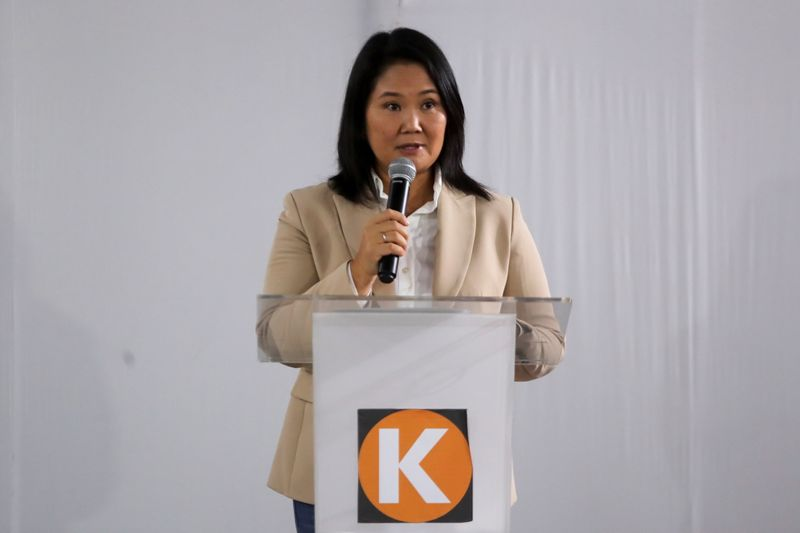 Peru's conservative Keiko Fujimori addresses the media after the electoral jury rejected her appeals to flip election results, in Lima