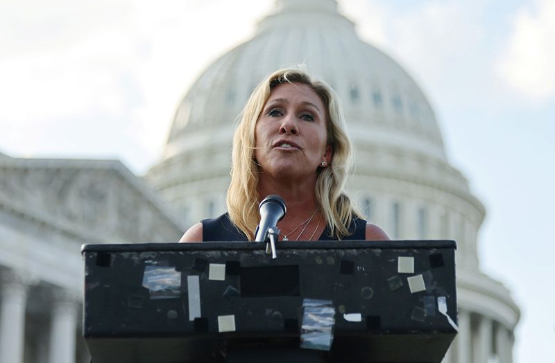 Representative Marjorie Taylor Greene (R-GA) holds a press conference outside the U.S. Capitol in Washington