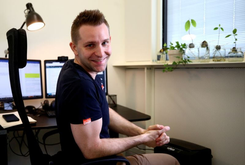 FILE PHOTO: Max Schrems sits in his office ahead of a Reuters interview in Vienna