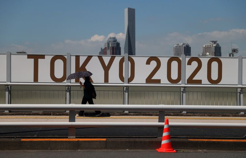 FILE PHOTO: A woman shelters from the sun under an umbrella as she walks past Olympics signage