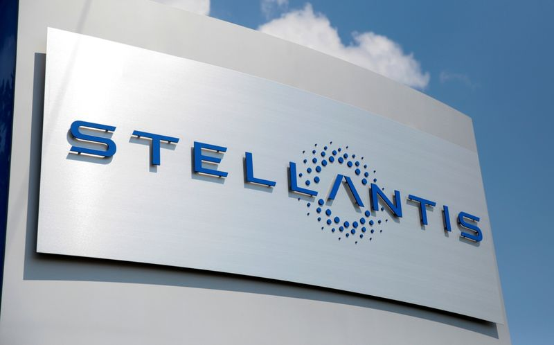FILE PHOTO: A Stellantis sign is seen outside company headquarters in Auburn Hills,