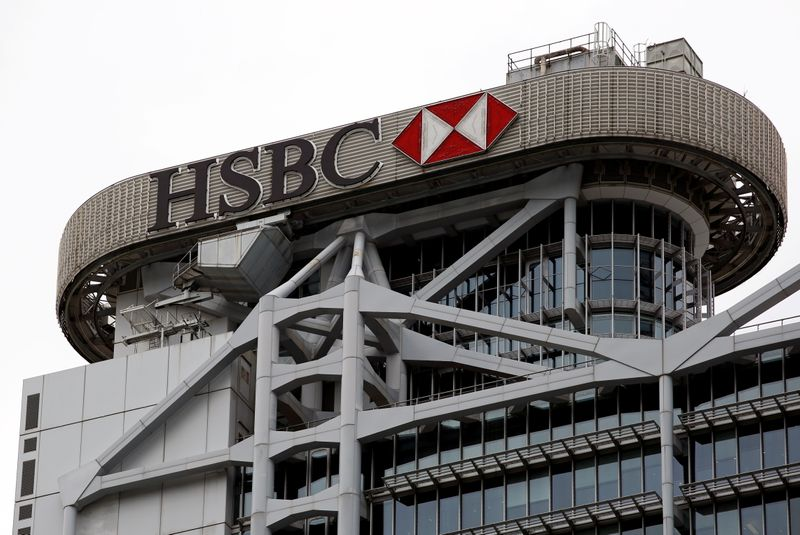 FILE PHOTO: Logo of HSBC is seen on its headquarters at the financial Central district in Hong Kong