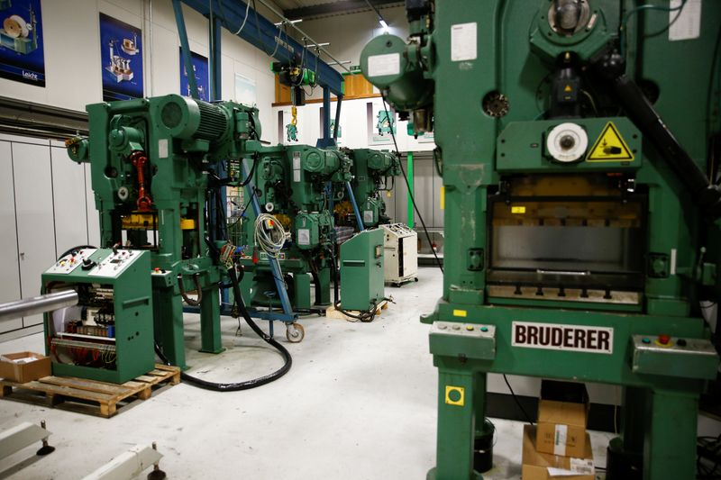Machines produced by Bruderer Uk Ltd are seen inside the company's factory in Luton