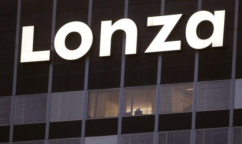 FILE PHOTO: Logo of Swiss contract drug maker Lonza is seen in Basel