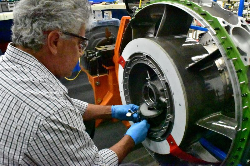 FILE PHOTO: An aircraft engine being built at Honeywell Aerospace in Phoenix
