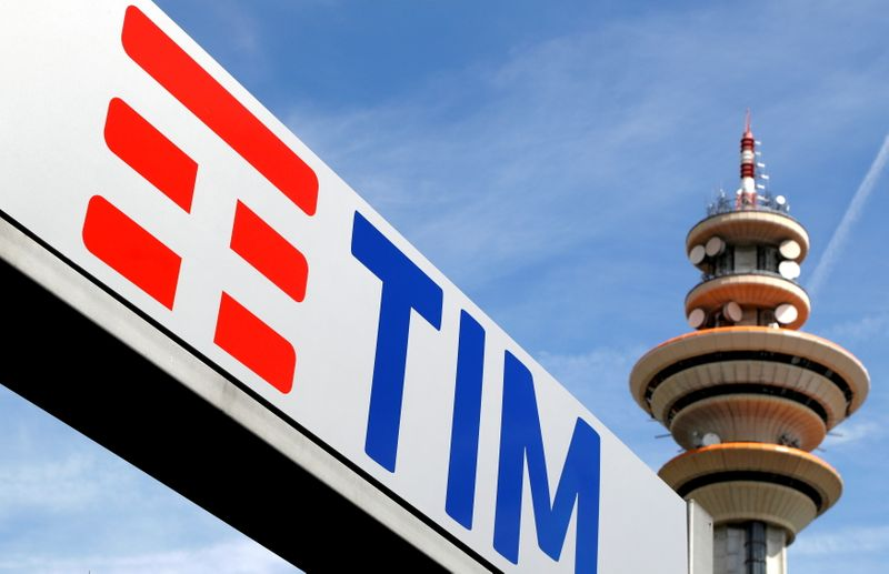 FILE PHOTO: FILE PHOTO: Telecom Italia new logo is seen at the headquarter in Rozzano neighbourhood of Milan