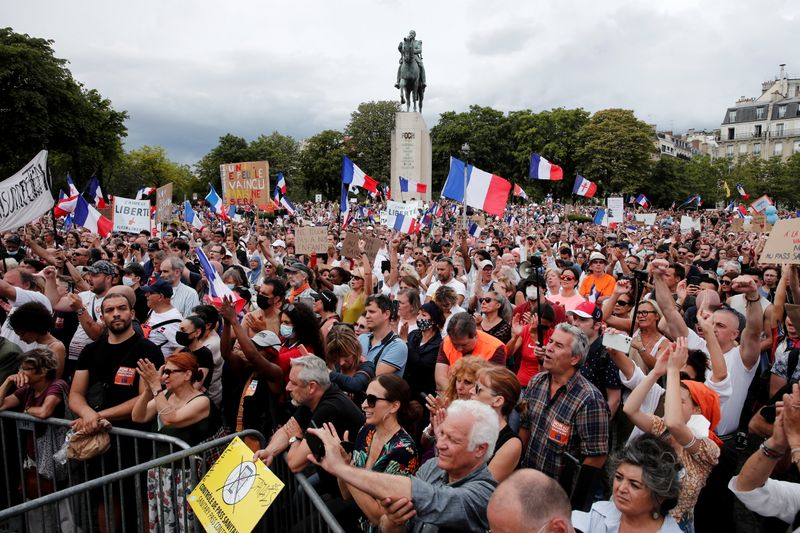 Protesters demonstrate against COVID health pass in France