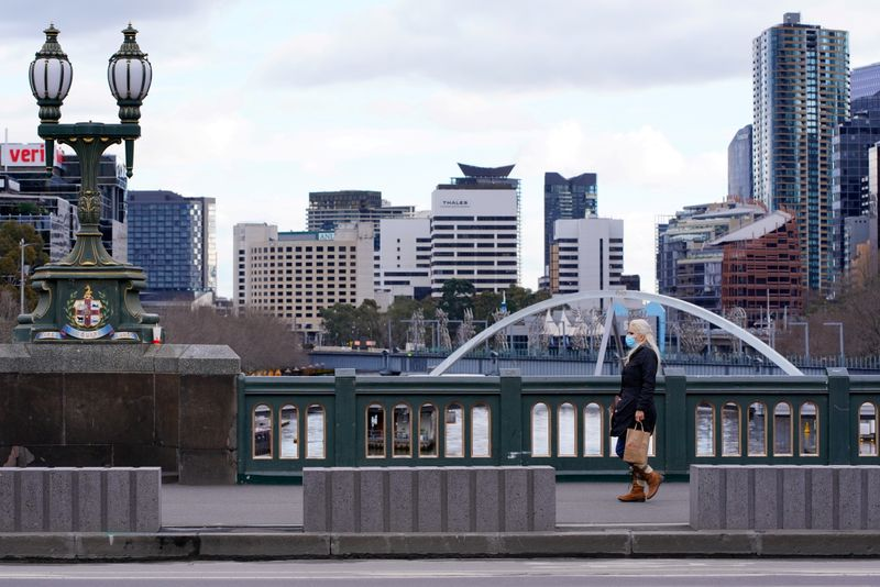 FILE PHOTO: The first day of a COVID-19 lockdown in Melbourne