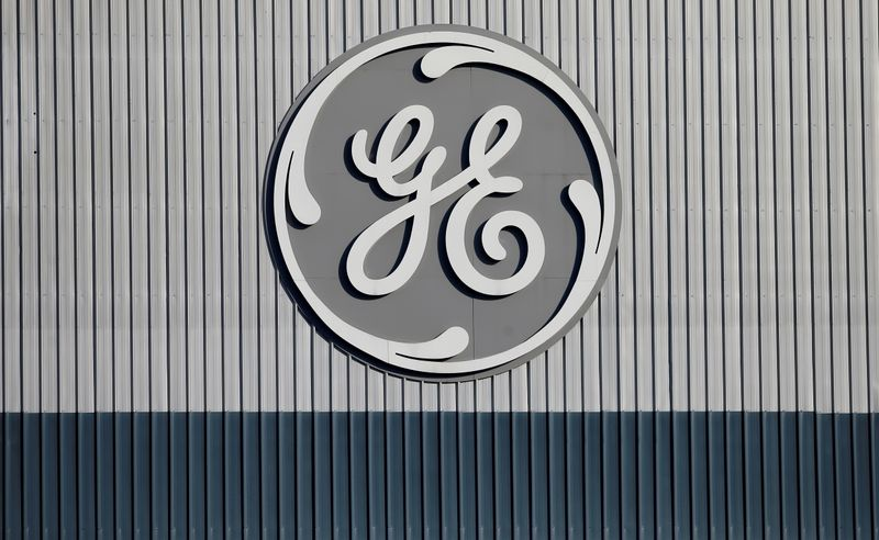 FILE PHOTO: The logo of U.S. conglomerate General Electric is pictured at the site of the company's energy branch in Belfort