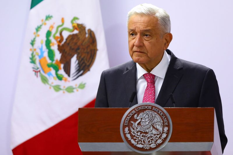 Mexico's President Andres Manuel Lopez Obrador delivers a speech on the third anniversary of his presidential election victory at National Palace in Mexico City