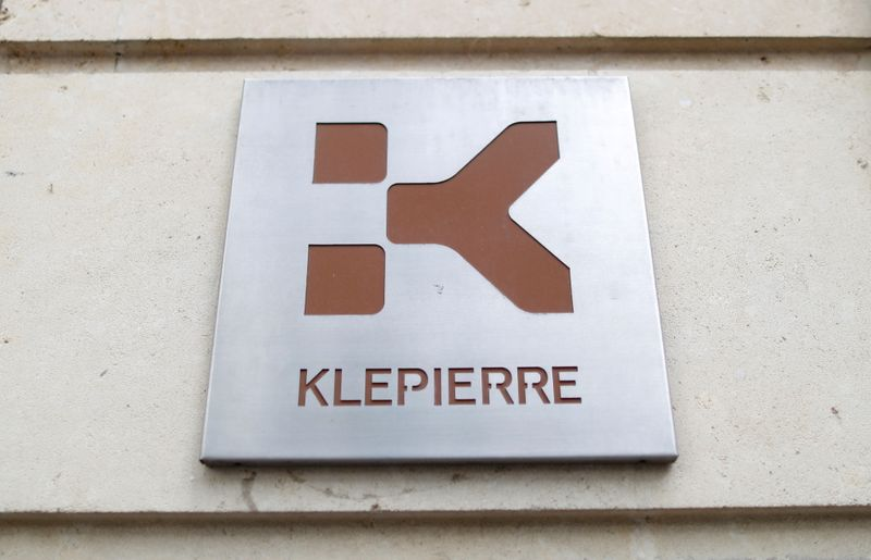FILE PHOTO: The Klepierre logo on a sign at the company's Paris headquarters