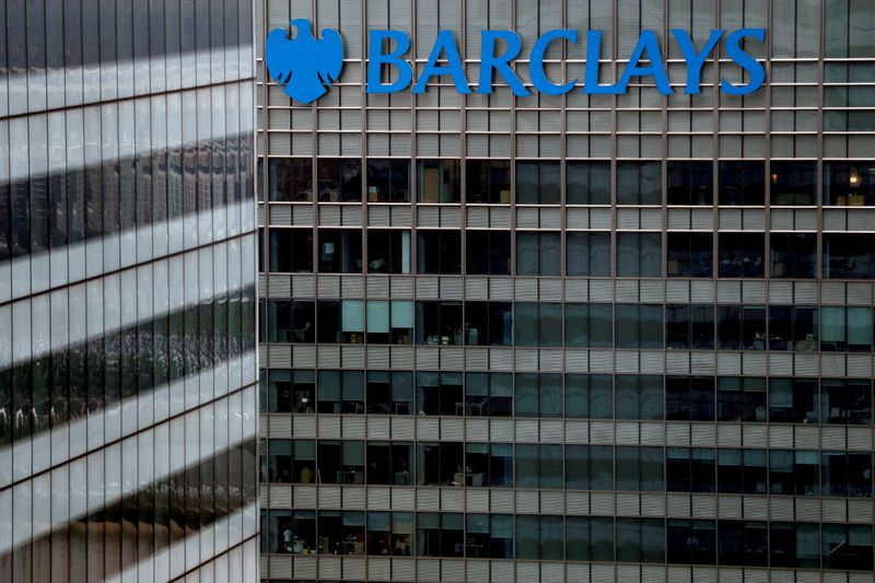 FILE PHOTO: A Barclays bank building is seen at Canary Wharf in London