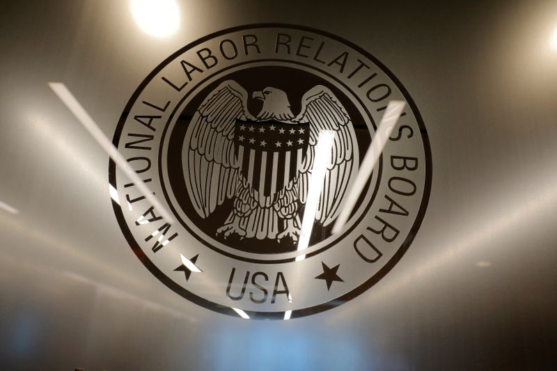 FILE PHOTO: The seal of the National Labor Relations Board (NLRB) is seen at their headquarters in Washington, D.C.