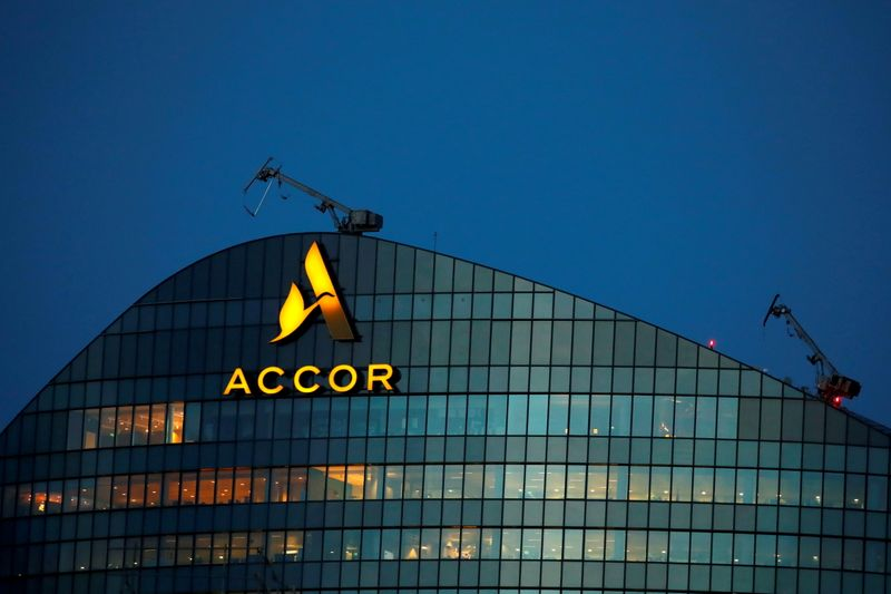 FILE PHOTO: FILE PHOTO: The logo of French hotel operator AccorHotels is seen on top of the company's headquarters near Paris