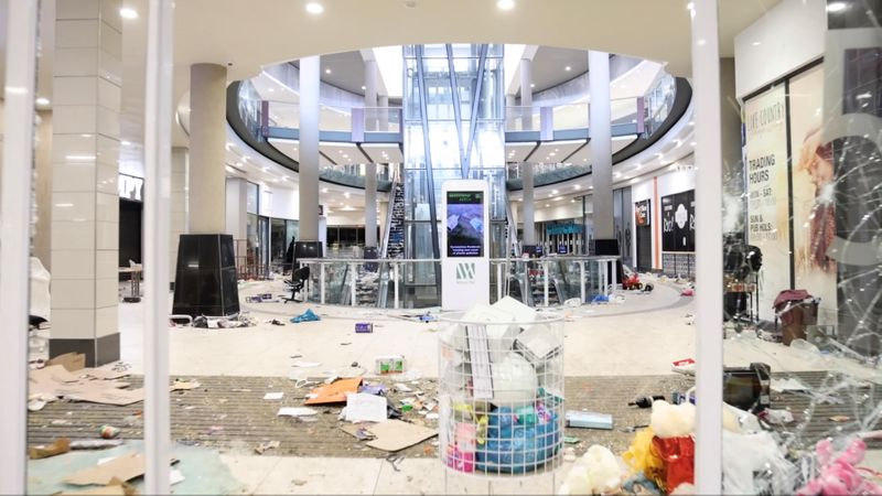 View shows a looted shopping mall in Durban