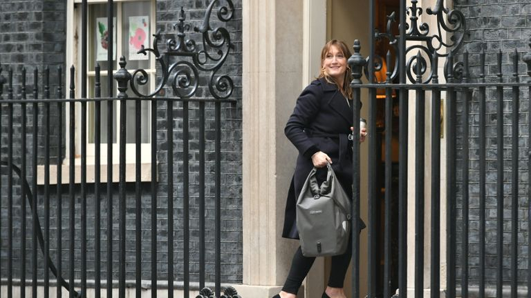 Allegra Stratton, the face of Downing Street's new daily televised press briefings, enters 10 Downing Street, London, the day after Lee Cain announced he is resigning as Downing Street's director of communications and will leave the post at the end of the year.