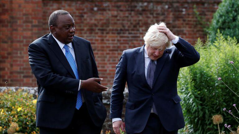 Prime Minister Boris Johnson meets Kenyan president Uhuru Kenyatta at Chequers, the country house of the serving Prime Minister of the United Kingdom, in Buckinghamshire. Picture date: Wednesday July 28, 2021.