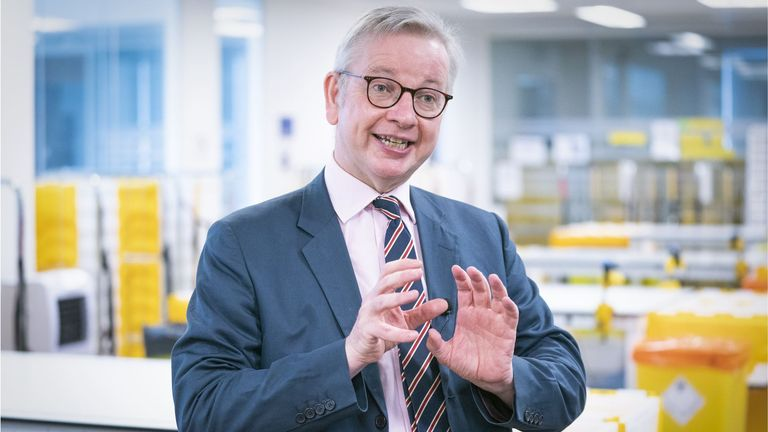 Cabinet Office Minister Michael Gove speaks to the media during a visit to the Queen Elizabeth University Hospital Teaching Campus, Glasgow