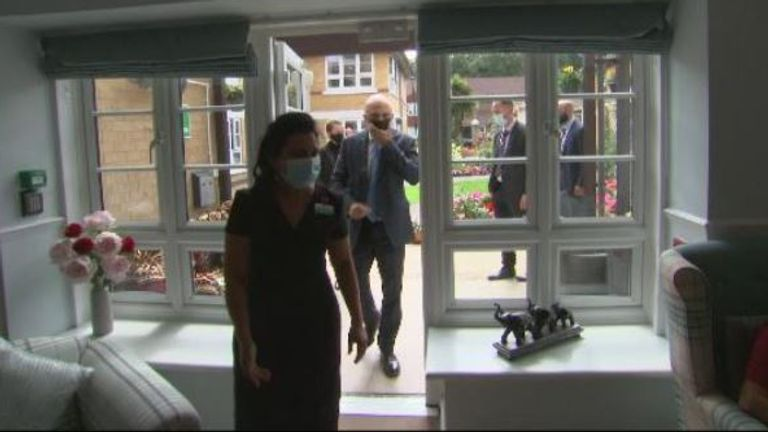 The home secretary paid a visit to a care home to thank staff