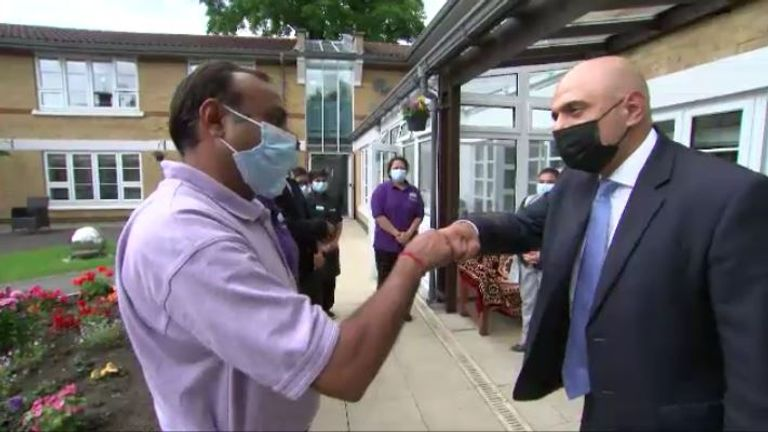 Sajid Javid visited a care home in Streatham on Tuesday
