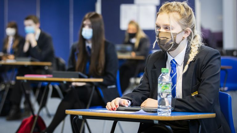 S5 and S6 students during an English Literature class at St Andrew's RC Secondary School in Glasgow as more pupils are returning to school in Scotland in the latest phase of lockdown easing. Picture date: Monday March 15, 2021.